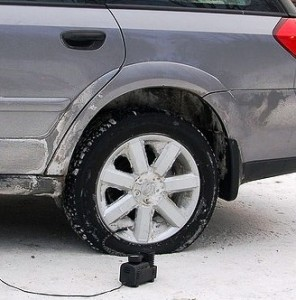 Photo of Re-inflating tire low on air pressure